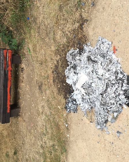 The park bench was set alight between Tuesday and Wednesday in St Albans