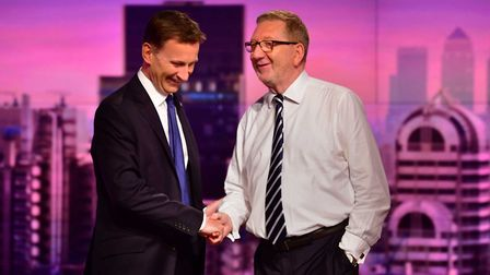Conservative party leadership contender Jeremy Hunt (left) and Len McCluskey, General Secretary of t