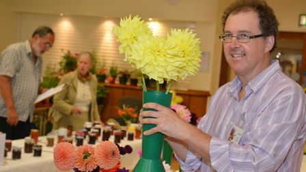 St Ives Flower, Produce and CraftShow, at the Corn Exchange, Organiser Richard Weightman, with some