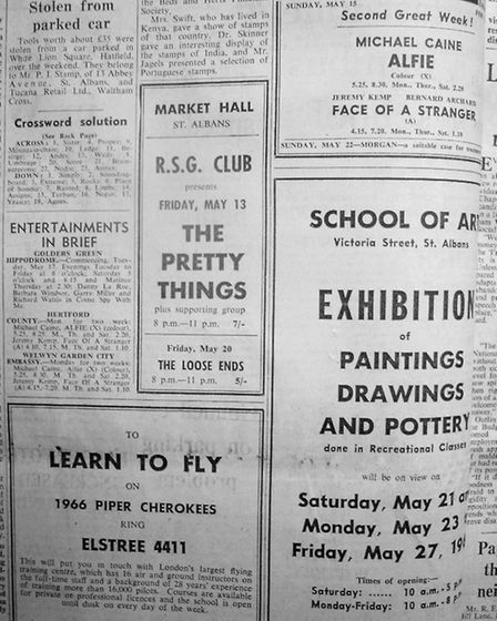 The Pretty Things last performed in St Albans in 1966 - this is the cutting from the Herts Advertise