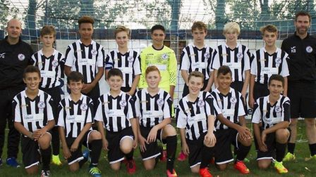 The new St Ives Town Under 14 team pictured ahead of their first-ever fixture last Sunday, are Kai