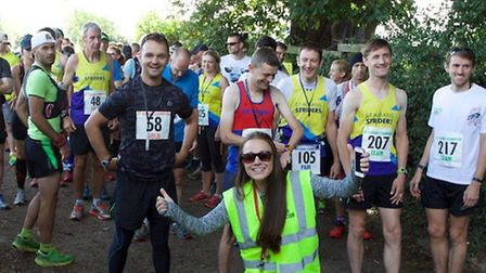 The runners get ready at the start of the St Albans Stampede with race director Amy Heap. Picture: C