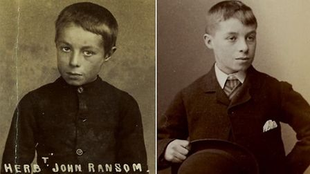 Herbert Ransom at age nine, left, and again at age 13, after spending time in Godmanchester.
