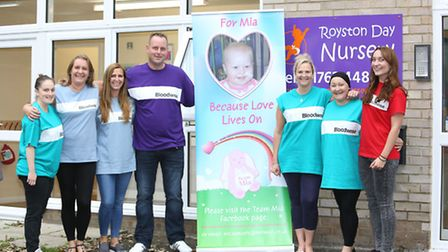 Organisers Ben and Nicola Samuels (third from right) with volunteers at a fundraising event for Leuk