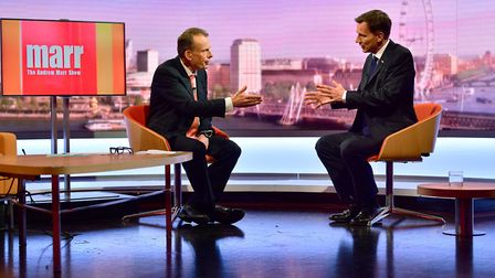 Andrew Marr (left) with Conservative party leadership contender Jeremy Hunt. Photograph: Jeff Overs/
