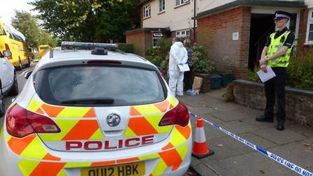 Police at the crime scene in Townsend Avenue, St Albans. Photo by Craig Shepheard