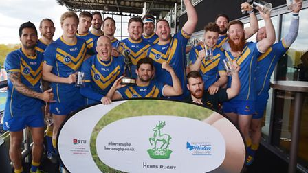 Vees celebrate their Herts President's Trophy victory at Allianz Park. Picture: KEVIN LINES