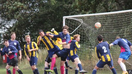 Goalmouth action from the Jolly Sailor and Oaks game