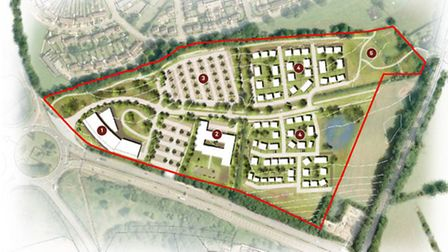 Option one of three which includes hotel, park and ride, care home and up to 100 homes