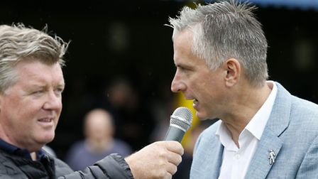 Sky Sports pundit Alan Smith being interviewed by Geoff Shreeves at Clarence Park in St Albans, wher