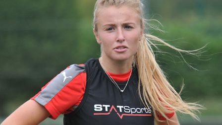Leah Williamson in training with Arsenal Ladies ahead of their game against Manchester City.