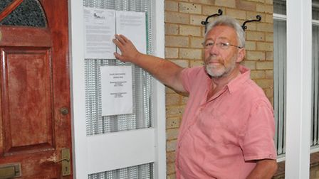 Cllr Chris Brazier outside the Burvill House GP surgery in Colney heath which is to close.