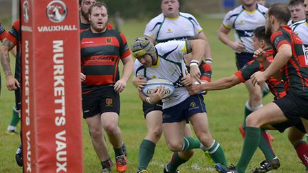Two-try hero Tango Morgan charges towards the line for Huntingdon. Picture: DUNCAN LAMONT