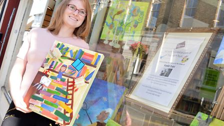 New Papworth Trust window at Oxfam Books, Roald Dahl to mark the 100th anniversary of his birth, Vol