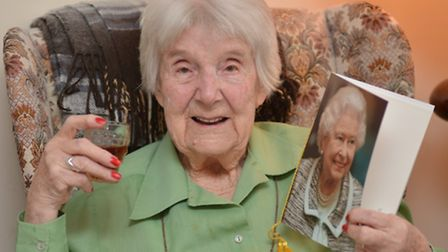 100 year old Albina Wilson, from Leighton Bromswold,
