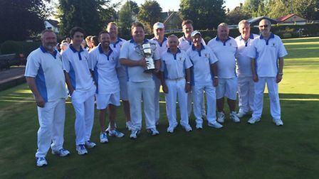 The St Neots Outdoor Bowls Club team which won the Gilbert Cup at the Cambridgeshire County Finals.