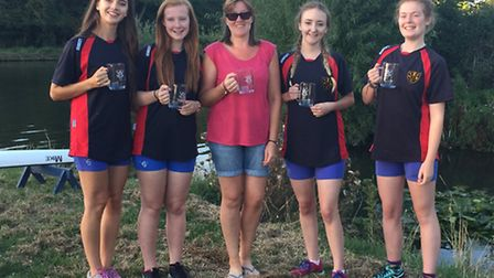 The Huntingdon Boat Club women's coxed four, who lost their novice status after victory at the Cambr