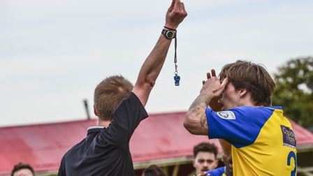 Disbelief on the faces of the St Albans City players as Tom Bender is sent off against Ebbsfleet Uni