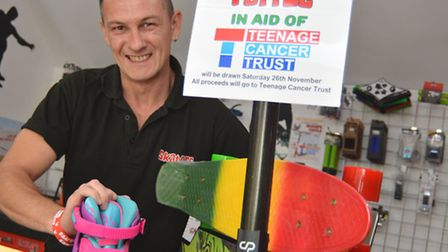 Skaters in St Ives are selling raffle tickets in aid of Teenage Cancer Trust, owner Rob Dumont, with