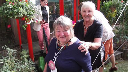 Rosemary Gatward, winner at the garden party with Diane Blundell and the Rev Shipp.