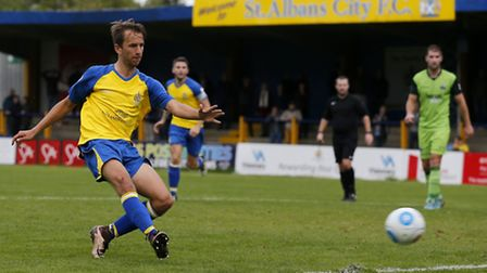 Sam Merson fires St Albans City's late winner against Gosport Borough. Picture: LEIGH PAGE