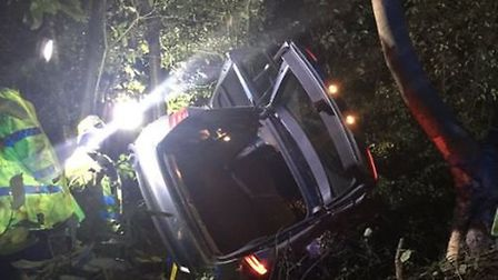 Firefighters extracted the driver after his car went off the road on the A414. Photo courtesy of Twi