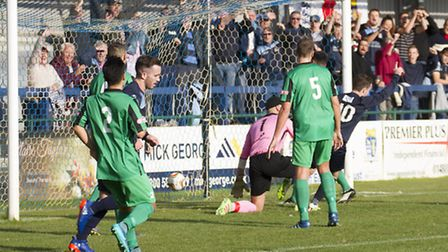 Sam Mulready (10) scores his second goal in St Neots Town's victory against Cinderford last Saturday