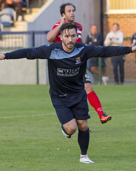 James Hall struck twice as St Neots triumphed at Redditch. Picture: CLAIRE HOWES