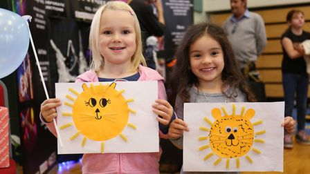 Eva Bayliss and Alice Perkins, both four, at the children's event in Royston.