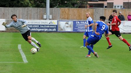 Allan Owen sees this effort disallowed, but he and Craig Smith (back) both scored in Eynesbury Rover
