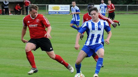 Jordan Brown in action as Eynesbury Rovers beat Rothwell Corinthians. Picture: ROB MORRIS