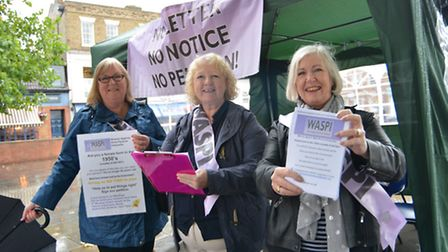 Huntingdonshire branch of Women Against State Pension Inequality movement, action day in St Neots (