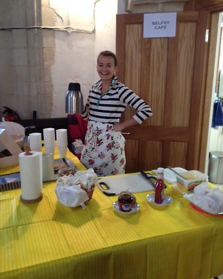 Abbie serving in the Belfry Cafe