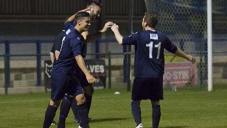 St Neots players celebrate Tom Ward's opener against Kettering. Picture: CLAIRE HOWES