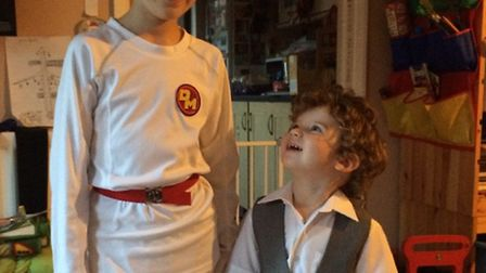 Danger mouse and Penfold otherwise known as Paul, 8, and two-year-old Aidan Mulholland.
