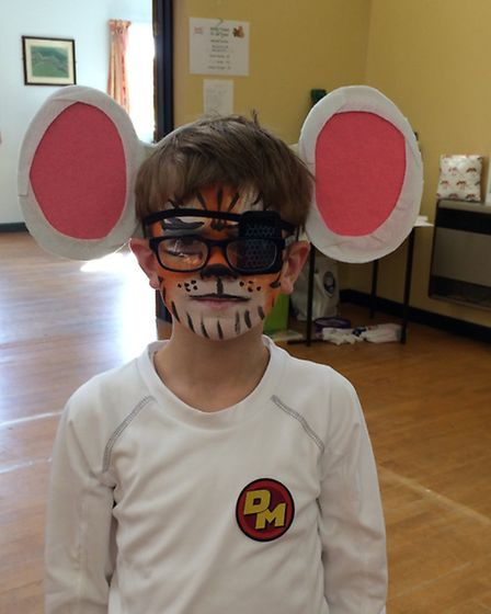 Angela Mulholland's son Paul dressed up as Danger Mouse for the Superhero Tea Party.