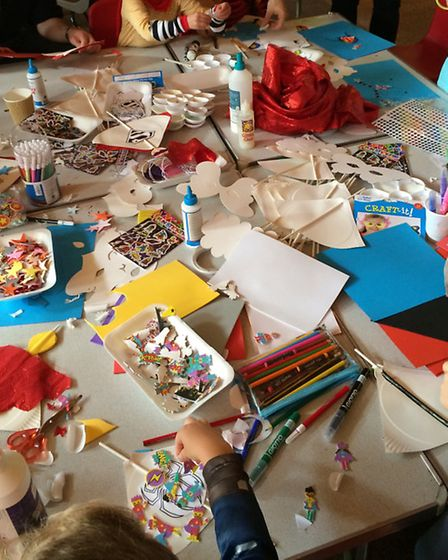 There was plenty to keep young superheroes busy at the tea party including craft activities, pottery