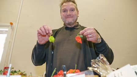 Martin Brown trying out some of the chillies