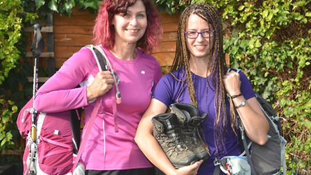 Charity walkers (l-r) Zoe Baxendale, and daughter Kate Smith, who climbed peaks in the Lake District