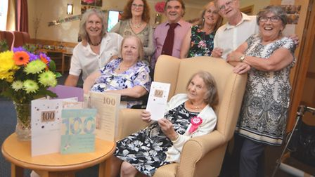 At Hunters Down, Huntingdon, 100-year-old Sophia Long celebrates with her family.