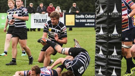 Morgan Thompson's try against Plymouth Albion couldn't stop OAs slipping to defeat. Picture: NEIL BA