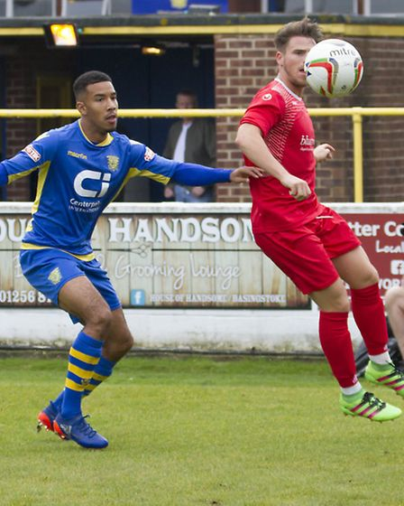 Declan Rogers during St Neots Town's defeat at Basingstoke. Picture: CLAIRE HOWES