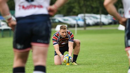 Chris May lines up a kick at goal. Picture: NEIL BALDWIN PHOTOGRAPHY