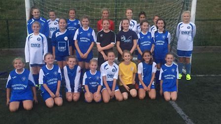 Players from the two Godmanchester Rovers girls teams.