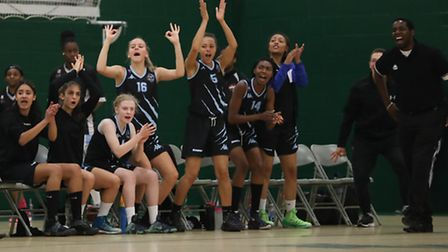 Oaklands Wolves bench celebrate another score