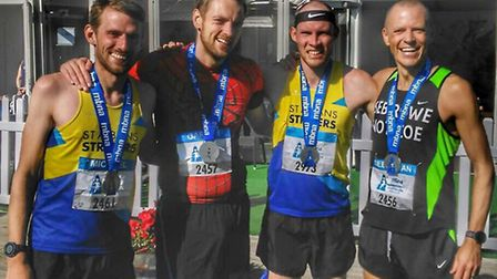 St Albans Striders' Mike Martin, Gareth Beavis, Rob Spencer and Seb Rowe all set personal bests at t