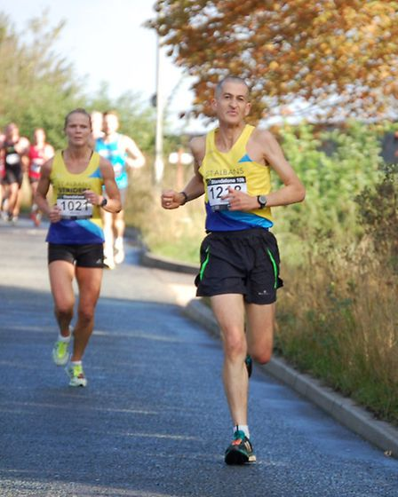St Albans Striders' Colin Braybrook just ahead of clubmate Wendy Walsh in the Letchworth Standalone