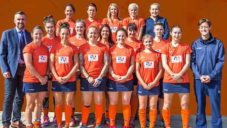 St Albans Hockey Club Ladies' first team show off their new strips and sponsors. Picture: CHRIS HOBS