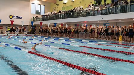 Swimmers line up ahead of the triathlon and aquathlon at the 2016 St Albans Festival of Sport. Pictu