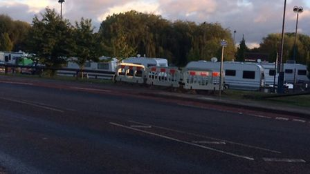 Travellers have moved onto a Riverside car park, in St Neots